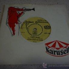 Discos de vinilo: COUNT BASIE BIG BAND VOCAL BY ELLA FITZGERALD ( PARTY BLUES - APRIL IN PARIS ) SWEDEN SINGLE45 . Lote 16715708