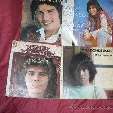 Discos de vinilo: MIGUEL GALLARDO LOTE 4 SINGLES ORIGINALES. Lote 26252485