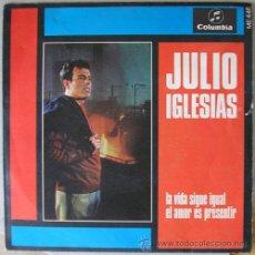 Discos de vinilo: JULIO IGLESIAS - DEL X FESTIVAL DE BENIDORM : LA VIDA SIGUE IGUAL - EL AMOR ES PRESENTIR - 1968. Lote 16874205