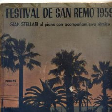 Disques de vinyle: 10 PUGADAS - GIAN STELLARI - FESTIVAL DE SAN REMO 1959 (PHILIPS P 10673 R) VER FOTO. Lote 27160082