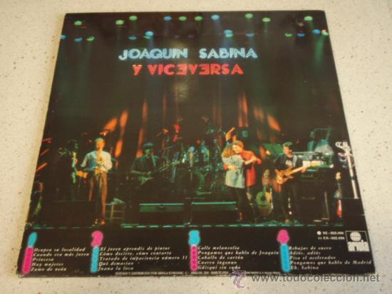 Discos de vinilo: JOAQUIN SABINA Y VICEVERSA EN DIRECTO con LUIS EDUARDO AUTE, JAVIER GURRUCHAGA, JAVIER KRABE, - Foto 2 - 17142147
