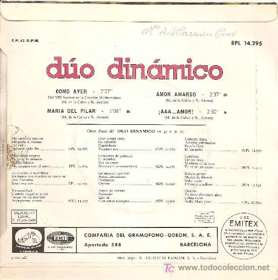 Discos de vinilo: EP ORIGINALDEL DUO DINAMICO-COMO AYER- AÑO 1966 - Foto 2 - 19693773