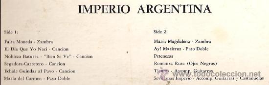 Discos de vinilo: IMPERIO ARGENTINA LP SELLO EXTRA RECORDS EDITADO EN USA. - Foto 2 - 17434583