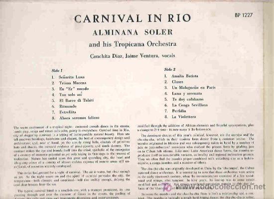 Discos de vinilo: carnaval en rio - canta en español alminana soler and his tropicana orchestra - 1962 uk - Foto 2 - 17533994