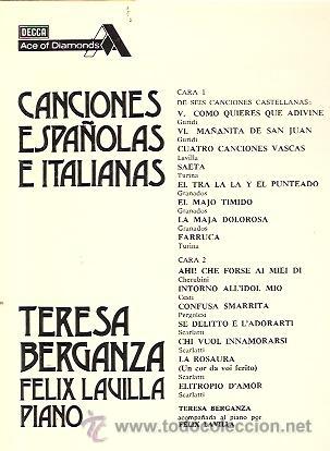 Discos de vinilo: TERESA BERGANZA LP SELLO DECCA AÑO 1976 CANCIONES ESPAÑOLAS E ITLIANAS. - Foto 2 - 17614984