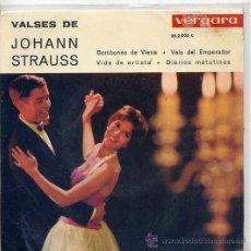 Discos de vinilo: VALSES DE JOHANN STRAUSS / BOMBONES DE VIENA + 3 (EP VERGARA 352022) TEMAS EN PORTADA. Lote 17664266