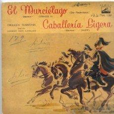 Discos de vinilo: HERBERT VON KARAJAN / EL MURCIELAGO / CABALLERIA LIGERA (EP LA VOZ DE SU AMO 7 ERL 1369). Lote 17664713
