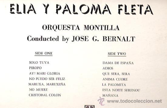 Discos de vinilo: ELIA Y PALOMA FLETA LP SELLO MONTILLA EDITADO EN USA. - Foto 2 - 17665951