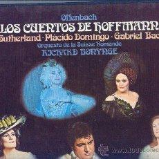 Discos de vinilo: OFFENBACH..SUTHERLAND..DOMINGO..BONYNGE CAJA 3 LP MAS LIBRETO DECCA LOLS CUENTOS DE HOFFMANN. Lote 26803800