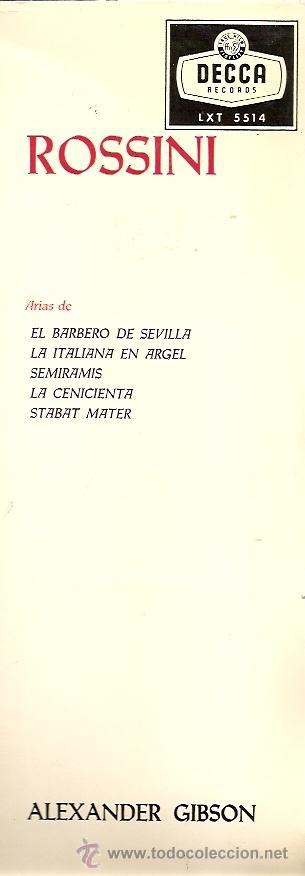 Discos de vinilo: TERESA BERGANZA CANTA A ROSSINI LP SELLO DECCA AÑO 1959 - Foto 2 - 17706420