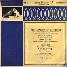Discos de vinilo: SINGLE - TONY BRENT CON NORRIE PARAMOR Y SU ORQUESTA - TRES MONEDAS EN LA FUENTE ...... Lote 17836722