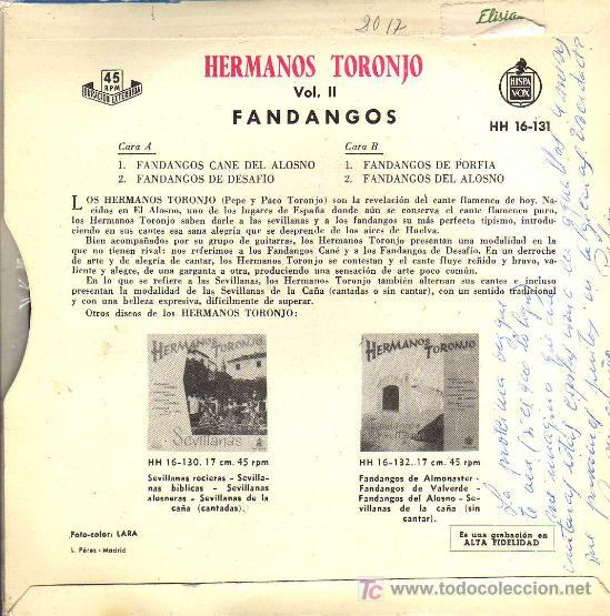 Discos de vinilo: SINGLE - HERMANOS TORONJO - FANDANGOS DE DESAFIO - Foto 2 - 17830302