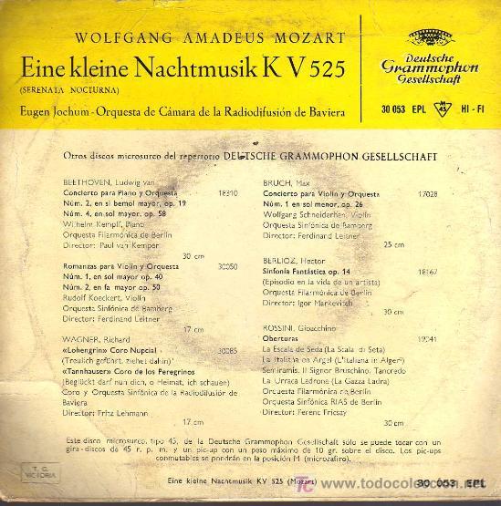 Discos de vinilo: SINGLE - EINE KLEINE NACHTMUSIK K V 525 - SERENATA NOCTURNA - WOLFGANG AMADEUS MOZART - Foto 2 - 17824930