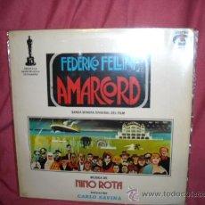 Discos de vinilo: AMARCORD FELLINI LP BANDA SONORA ORIGINAL MUSICA NINO ROTA SPA 1974 . Lote 17844753
