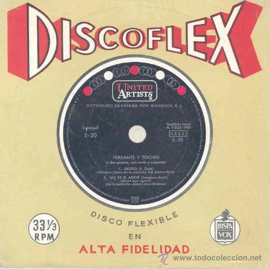 FERRANTE Y TEICHER - EXODO / NO ES EL ADIOS - DISCO FLEXIBLE, ESPAÑOL DE 1961 (Música - Discos - LP Vinilo - Festival de Eurovisión)