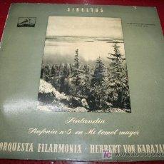 Discos de vinilo: LP - JEAN SIBELIUS - FINLANDIA - SINFONIA Nº 5 EN MI BEMOL MAYOR. Lote 27637139