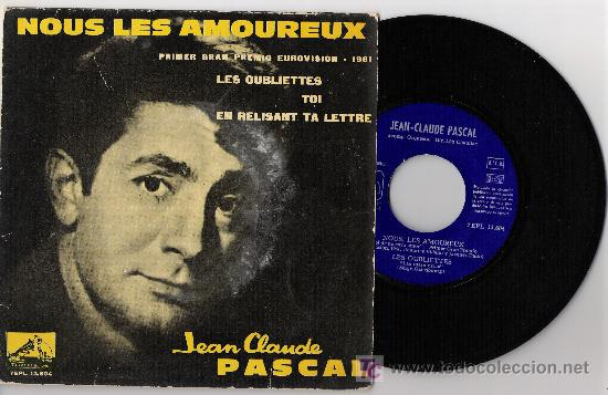 JEAN CLAUDE PASCAL PRIMER PREMIO 1961 EUROVISION (Música - Discos - Singles Vinilo - Festival de Eurovisión)