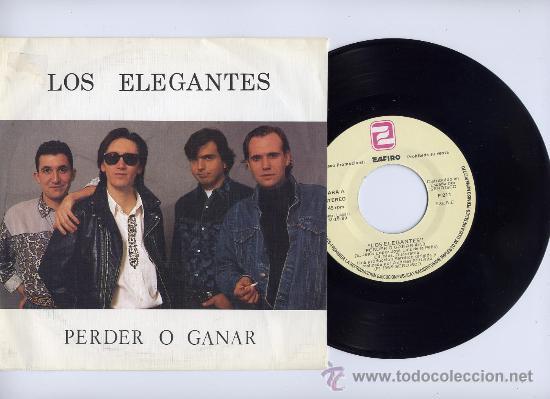 LOS ELEGANTES. PROMO SINGLE 45. PERDER O GANAR. ZAFIRO 1989 (Música - Discos - Singles Vinilo - Grupos Españoles de los 70 y 80)