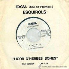 Discos de vinilo: ESQUIROLS - DISC DE PROMOCIÓ - 1978 - CARA A: MOTS - CARA B: REFRANYS - DE L'LP LICOR D'HERBES BONES. Lote 18376702