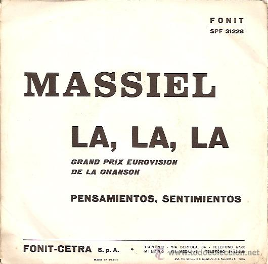 Discos de vinilo: MASSIEL (EUROVISION ´68) SINGLE SELLO FONIT EDITADO EN ITALIA - Foto 2 - 18467333