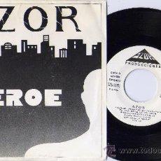 Discos de vinilo: AZOR SINGLE HEROE HARD PROMO SPAIN MINT. Lote 27392526