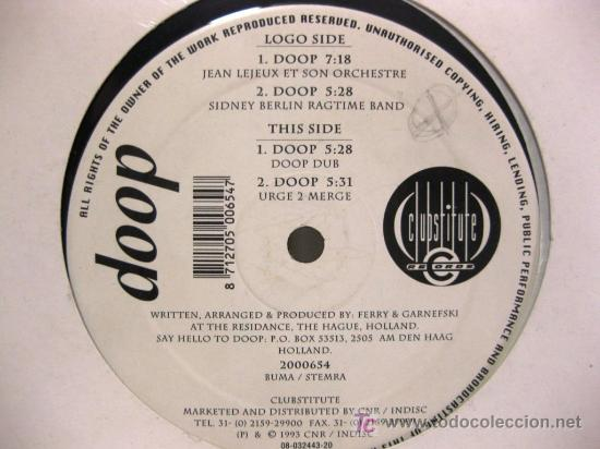 DOOP - DOOP - MAXI CLUBSTITUTE RECORDS 1993 (HOUSE) BPY (Música - Discos de Vinilo - Maxi Singles - Techno, Trance y House)