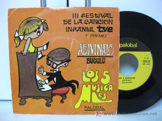 3R FESTIVAL DE LA CANCIÓN INFANTIL - LOS 5 MUSICALES - ADIVINALO - SINGLE PALOBAL 1969 BPY (Música - Discos - Singles Vinilo - Otros Festivales de la Canción)