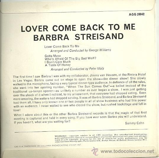 Discos de vinilo: BARBRA STREISAND EP SELLO CBS EDITADO EN INGLATERRA - Foto 2 - 19090337