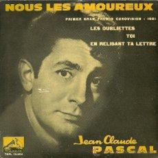 Discos de vinilo: JEAN CLAUDE PASCAL EP SELLO LA VOZ DE SU AMO FESTIVAL DE EUROVISION AÑO 1961. Lote 19112210