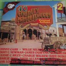 Discos de vinilo: 40 COUNTRY MASTERPIECES (JOHNNY CASH - WIILIE NELSON - CARL PERKINS - CHARLIE RICH -...) 2LPS UK. Lote 19143309