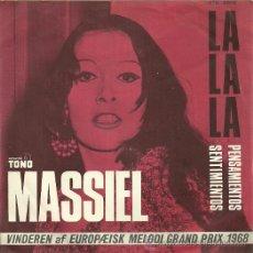 Discos de vinilo: MASSIEL SINGLE SELLO TONO AÑO 1968 EDITADO EN DINAMARCA DEL FESTIVAL DE EUROVISIÓN. Lote 19163626