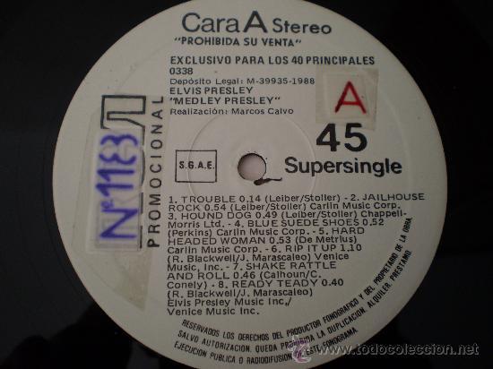 Discos de vinilo: Maxi 12. Elvis Presley.Medley. Promocional. Unico y nUmerado. Excelente conservación!!!!!!!! - Foto 5 - 26109506