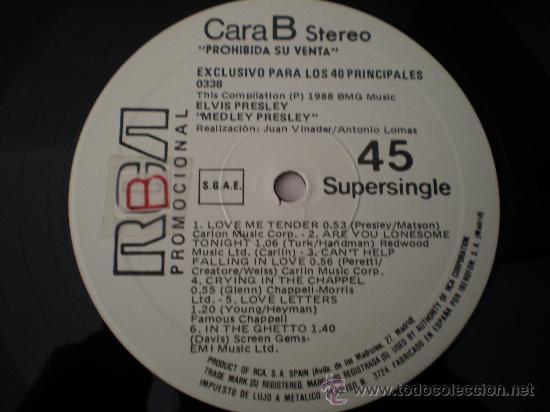 Discos de vinilo: Maxi 12. Elvis Presley.Medley. Promocional. Unico y nUmerado. Excelente conservación!!!!!!!! - Foto 6 - 26109506