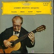 Discos de vinilo: ANDRÉS SEGOVIA - DANZA Nº 5 EN MI MENOR / SEVILLA DE LA SUITE ESPAÑOLA Nº 3, ETC - EP 1961. Lote 19446205
