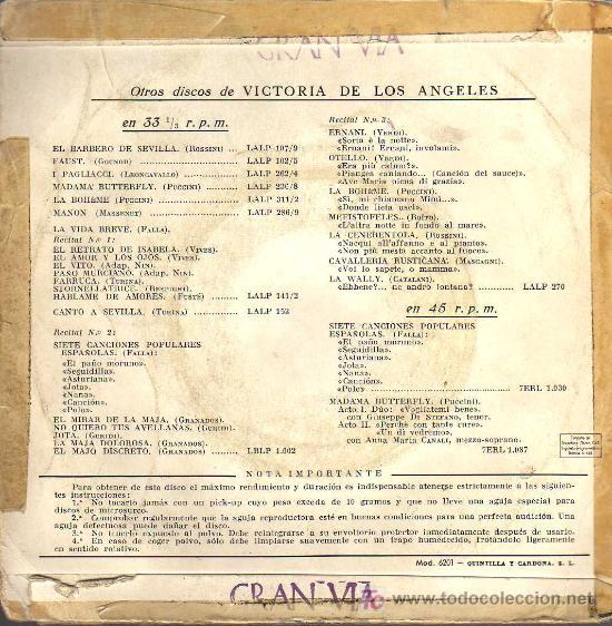 Discos de vinilo: SINGLE - VICTORIA DE LOS ANGELES - EL BARBERO DE SEVILLA - Foto 2 - 19678571