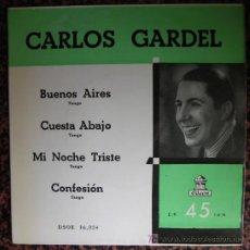 Discos de vinilo: CARLOS GARDEL ( BUENOS AIRES / CUESTA ABAJO... ) SINGLE ODEON RECONSTRUCCION 1955 . Lote 26003965