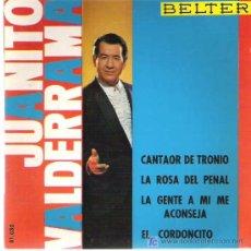 Discos de vinilo: JUANITO VALDERRAMA - CANTAOR DE TRONIO ** EP BELTER *. Lote 19825295