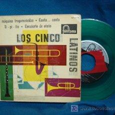 Discos de vinilo: - LOS CINCO LATINOS - LA MÁQUINA TRAGAMONEDAS+3 - FONTANA ESPAÑA 1959 - DISCO VERDE. RARO. Lote 23383091