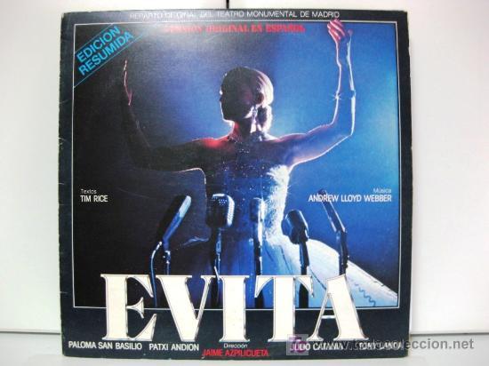 EVITA - VERSIÓN ORIGINAL EN ESPAÑOL (EDICIÓN RESUMIDA) - PALOMA SAN BASILIO - LP EPIC 1981 BPY (Música - Discos - LP Vinilo - Bandas Sonoras y Música de Actores )