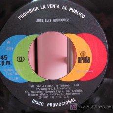 Discos de vinilo: JOSE LUIS RODRIGUEZ - ME VAS A ECHAR DE MENOS - SINGLE 1981 ARIOLA (PROMO) BPY. Lote 20135908