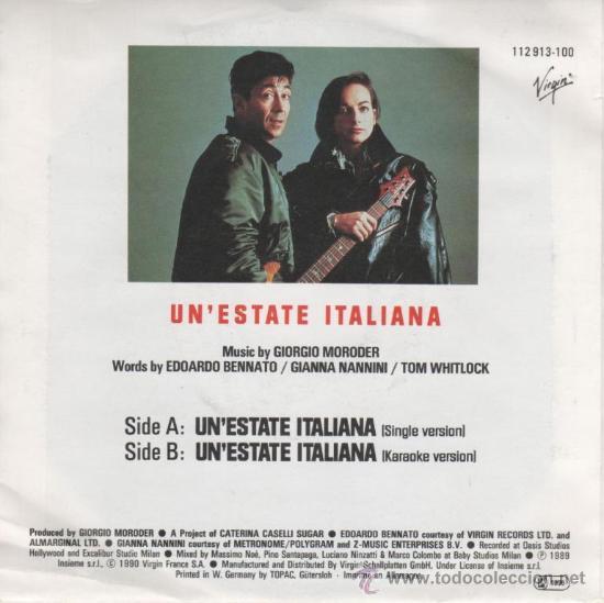 Discos de vinilo: EDOARDO BENNATO Y GIANNA NANNINI -OFFICIAL SONG OF FIFA WORLD CUP ITALY 1990 - UN ESTATE ITALIANA - Foto 2 - 26497519
