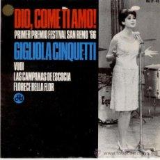 Discos de vinilo: GIGLIOLA CINQUETTI - SAN REMO 66 // DIO, COME TI AMO // EP 1966. Lote 26580014