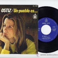 Discos de vinilo: MARIA OSTIZ. 45 RPM. UN PUEBLO ES...+TODO TIENE SU FIN. HISPAVOX 1977. Lote 27257746