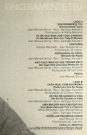 Discos de vinilo: JOAN MANUEL SERRAT LP SELLO ARIOLA EDITADO EN ESPAÑA AÑO 1986 - Foto 2 - 20382974