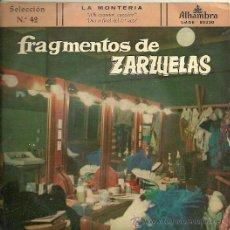 Discos de vinilo: FRAGMENTOS DE ZARZUELAS Nº 42 EP SELLO ALHAMBRA AÑO 1959 ORQUESTA MTRO. CISNEROS. Lote 20475295