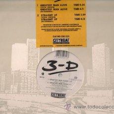 Discos de vinilo: 3-D - GREATEST MAN ALIVE / STRAIGHT UP - MAXI-SINGLE CITY BEAT - CBE 1231 - UK 1988. Lote 24143607