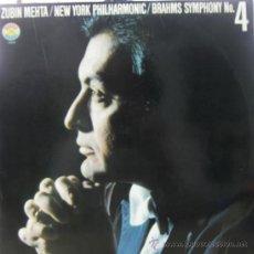 Discos de vinilo: ZUBIN MEHTA Y THE NEW YORK PHILARMONIC - BRAHMS - SINFONÍA Nº 4 - LP, 1980 . Lote 27328399