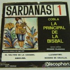 Discos de vinilo: DISCO SINGLE VINILO SARDANAS 1 - LA PRINCIPAL DE LA BISBAL- DISCOPHON 1961. Lote 26120907