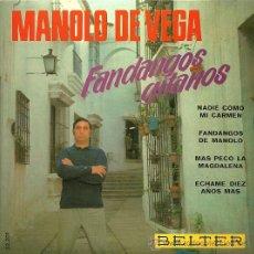 Discos de vinilo: MANOLO DE VEGA EP SELLO BELTER AÑO 1968. Lote 20671048