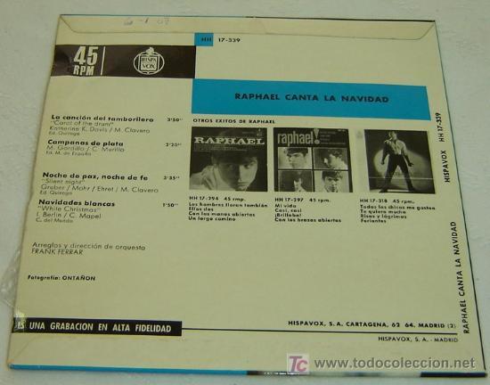 Discos de vinilo: DISCO SINGLE VINILO RAPHAEL CANTA LA NAVIDAD-HISPAVOX 1965 - Foto 2 - 22921165